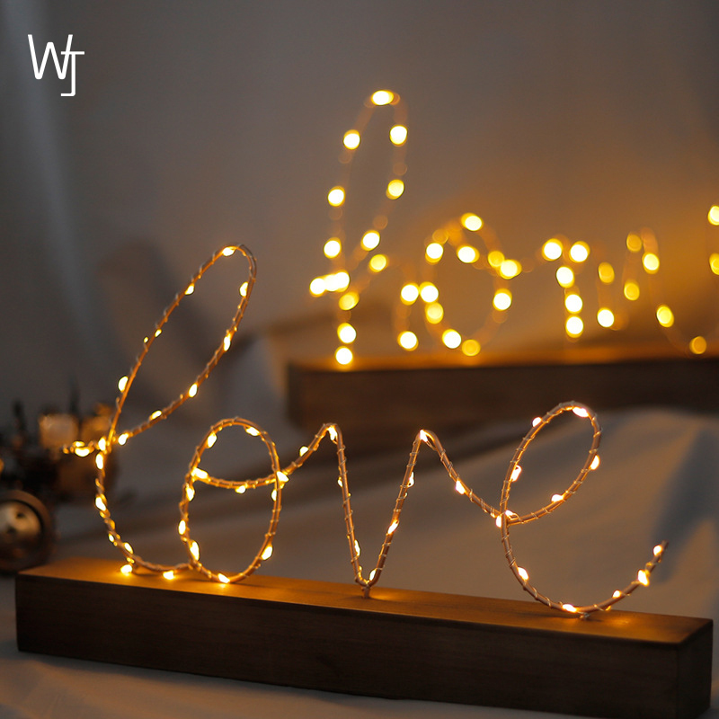 Creative Love Ornaments Led Small Lights Table Lamp Star Decoration Birthday Gift Bedroom Layout
