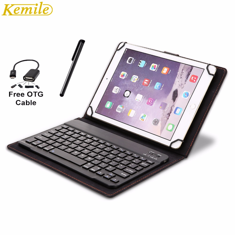 Kemile Universal 9-10.1 Magnetic Leather Case Wireless Bluetooth 3.0 Keyboard for Android Windows IOS System Tablet Keypad ios windows android universal bluetooth keyboard abs leather case for 7 8 9 9 7 10 1 tablet pc case support russia keyboard