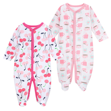 Купить с кэшбэком 2 Pack Newborn Baby Boys Girls Pajamas Winter Long Sleeve Sleepwear Cartoon Print Cute Autumn Baby Clothes