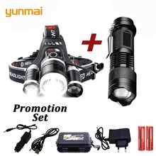 YUNMAI NEW LED headlamp headlight 6000 lumen XML-T6 Zoomable lamp Waterproof Head Torch flashlight Head lamp use 18650 battery sitemap 19 xml