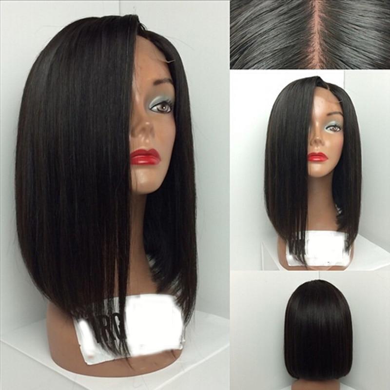 LUFFYHAIR Left Part Style Silk Base Lace Front Human Hair Wigs Brazilian Remy Short Bob Silk