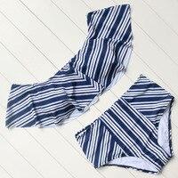 Striped Bikini Set High Waist Bikin Strapless Swimwear Push Up Padded Beachwear Ruffled Swimsuit Women Bathing