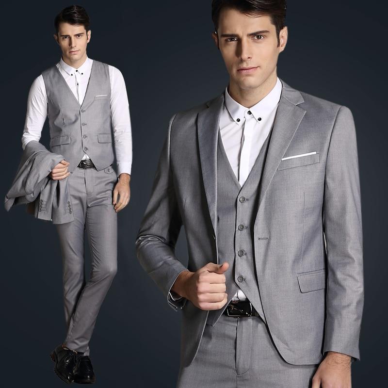 Top Quality 2016 Mens Slim Suits Set 3 Psc Blazer+Vest+Pants Groom ...