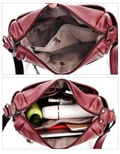 Image 5 - Soft Genuine Leather Women Lady Crossbody Purse Satchel Tote Shoulder Bag With Tassel Luxury Burgundy Handbag Fashion 2018 C1118