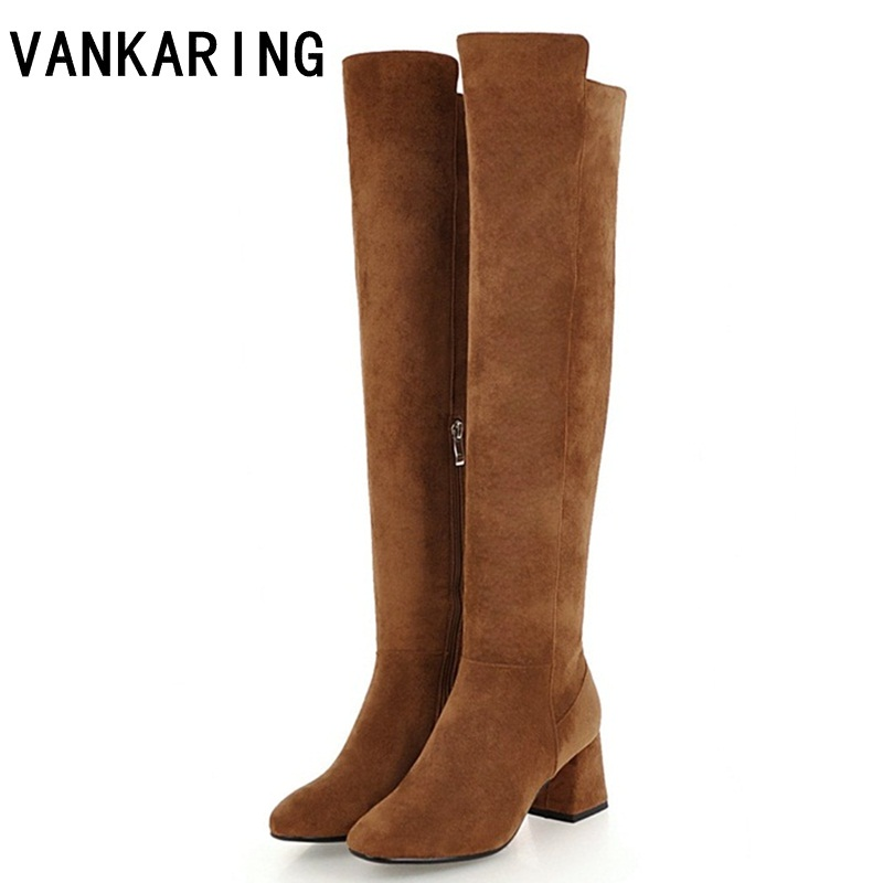 VANKARING classic design women boots faux leather knee high boots for women high heel black autumn winter boots women platform пальто mango пальто shadow