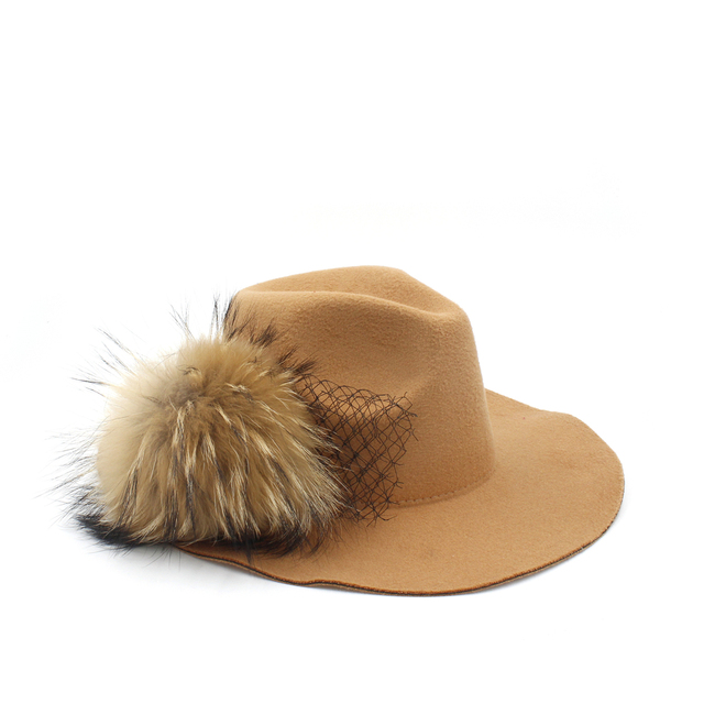 d351349aebb 100% Wool Women Winter Fur pompom Floppy Wide Brim Fedora Hat For Elegant  Lady Mesh Jazz Church Panama Sun Hat Size 56-58CM