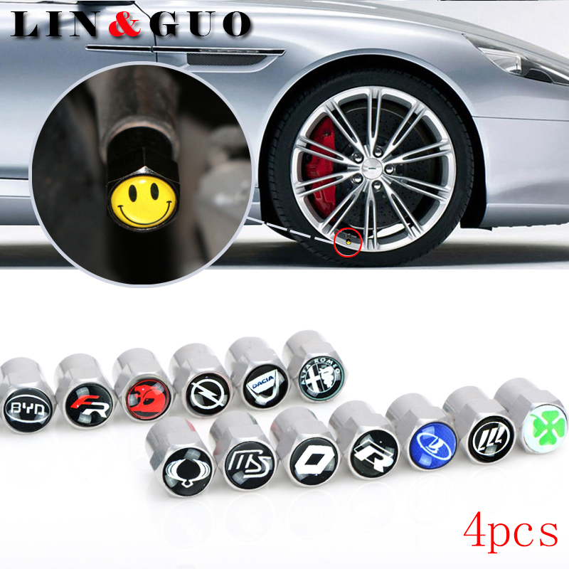 4pcs New style Metal Wheel Tire Valve Caps Stem case for Renault seat opel lada great wall byd skoda vrs car accessories