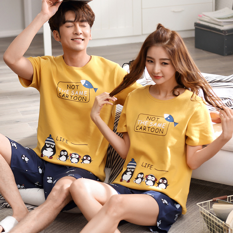 Couple   pajamas     set   summer short sleeve sleepwear men and women tracksuit big size pyjamas Lovers cotton sleep wear