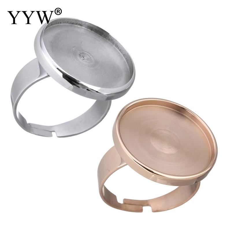 1PC Bezel Ring Base Settings Inner Fit 18mm Cabochon Stainless Steel 20x20x3mm Rose Gold Color Adjustable Ring US Size 7 Jewelry