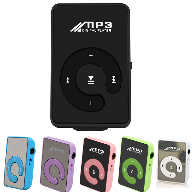 Top Deals Mini Mirror Clip USB Digital Mp3 Music Player Support 8GB SD TF Card purple/black/blue/green/pink/white