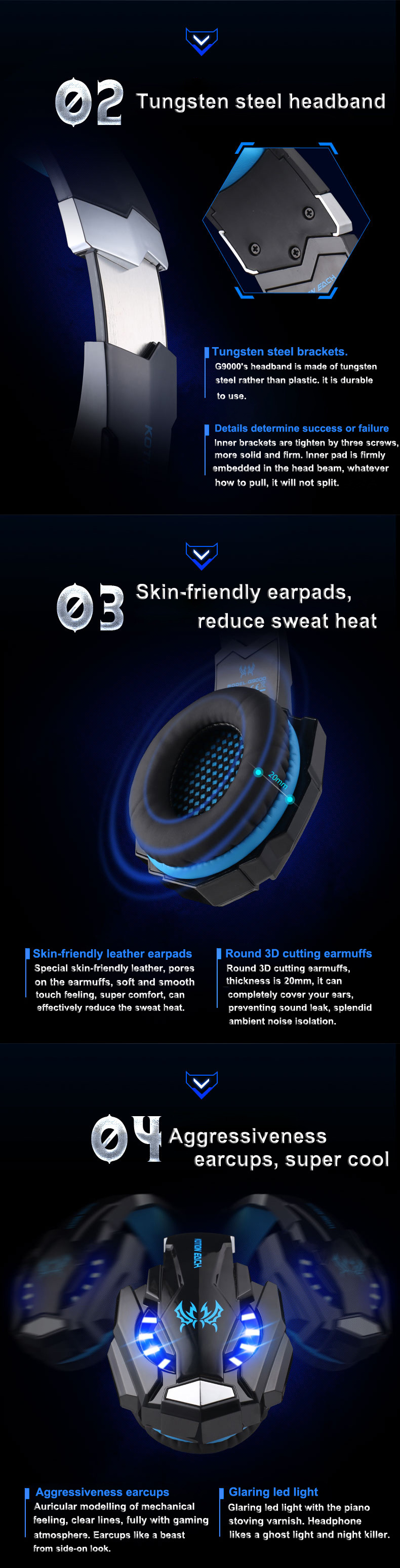 G9000 Gaming Headset Wired Earphone Gamer Headphone With Microphone LED Noise Canceling Headphones for Computer PC