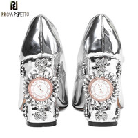 Prova Perfetto New Women Pumps High Heels Rhinestone Flower Wedding Shoes Woman Sexy High Heels Party Shoes Sweet Princess Shoes