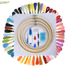 Looen Cross Stitch Hoop Embroidery Hoop 5pcs Wooden Round Adjustable Bamboo Hoops Threads Scissors Needles Sewing Accessories