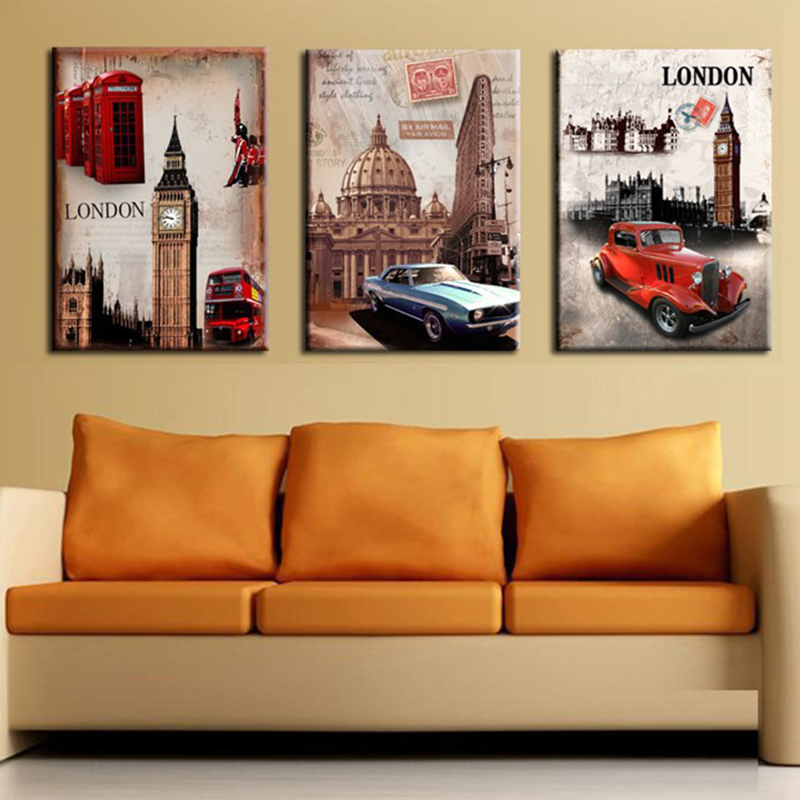 Decorative oil painting 3pcs/set Modern home interior wall art picture quality London history street car scenery canvas OM30-32