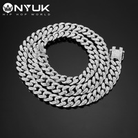 High Quality Ice Out Bling Full Rhinestone Cuban Chain Charm 75cm Long Necklace Gold Filled Jewelry Men Golden Silver Chain