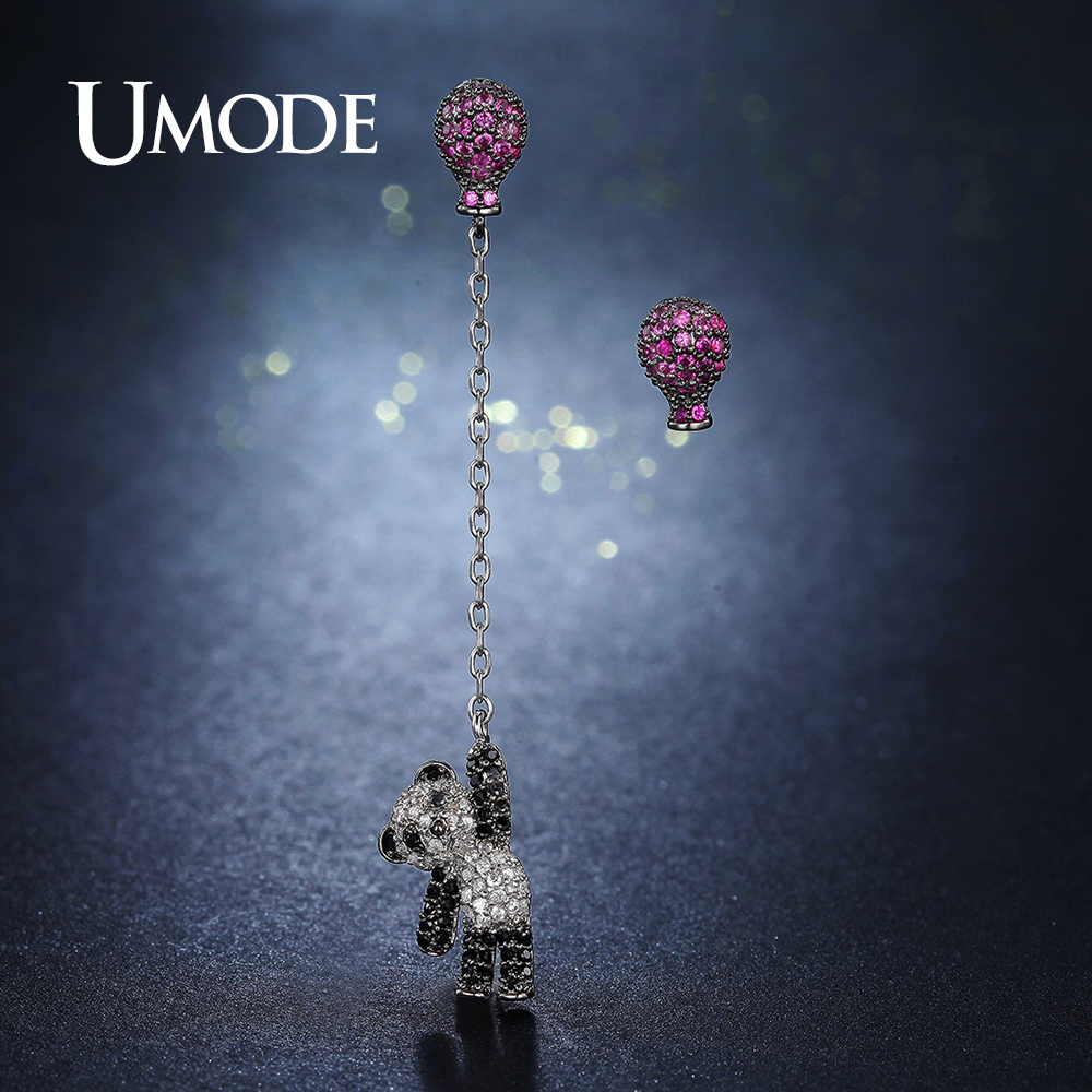 UMODE Design Pink Fire Balloon Panda Crystal Drop Earring for Women Cute Animal Bijoux Femme Brincos Fashion Jewelry Gift UE0293 наклейки olive8851 fashion drop panda hg ws 1580