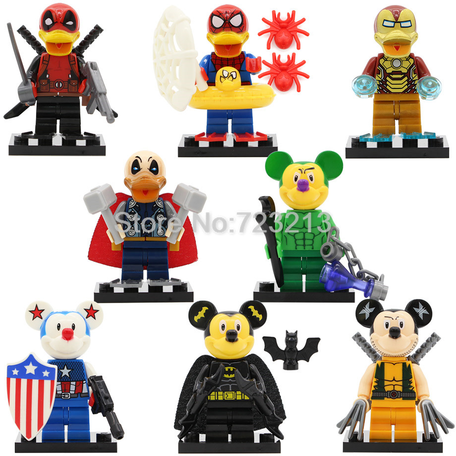8pcs Super Hero Figure Deadpool Spider-Man Iron Man Thor Duck Set SY670 Batman Hulk Mouse Building Blocks Model Bricks Toy super hero loz building blocks nano bricks diy spider man batman superman flash green lantern figure assembled toys gift for kid