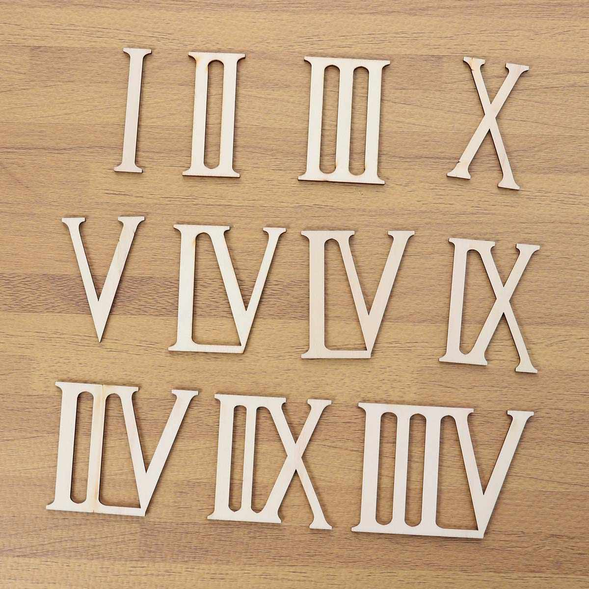 12pcs Wooden Roman Numerals Shape Wood Numerics Numbers DIY Household Bedroom Ornaments Craft Decoration Gift
