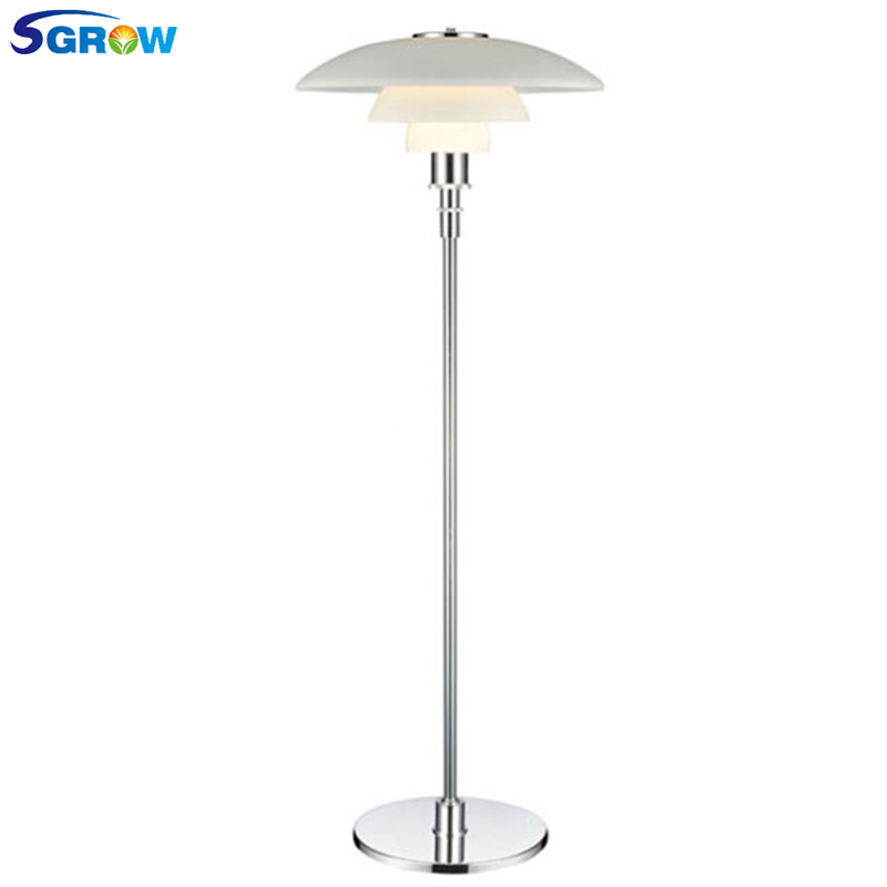 SGROW Three Layer White Glass Lampshade Floor Lights Modern Metal Art Lighting Stand Lamps for Living Room Bedroom Bedside Lamp floor lamps for living room bedroom bedside lamp on the floor designer floor lights floor lamps for office stand lighting indoor