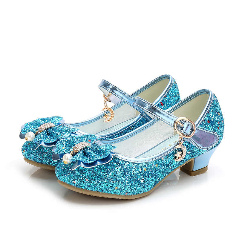 ULKNN Mùa Thu Bé Gái Giày Đối Với Trẻ Em Công Chúa Bướm Hoa Ngọc Glitter Casual Trẻ Em Da Giày Tím Hồng Vàng