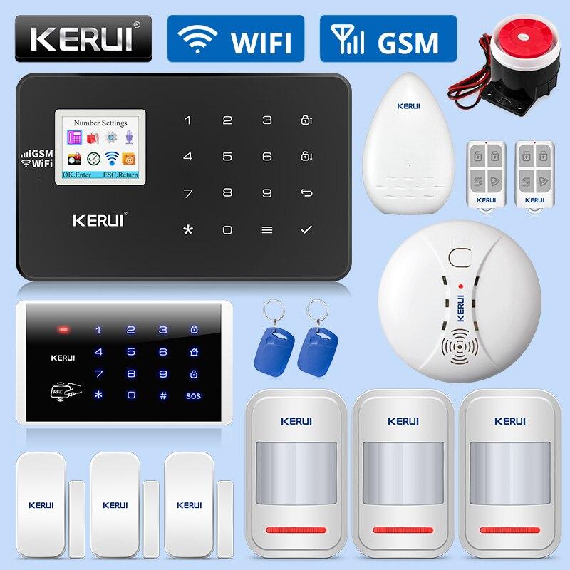 KERUI W18 GSM Alarm WIFI System włamywacz bezpieczeństwo w domu pilot aplikacji kontrola ruchu detektor dymu czujnik do okien drzwi DIY Kit