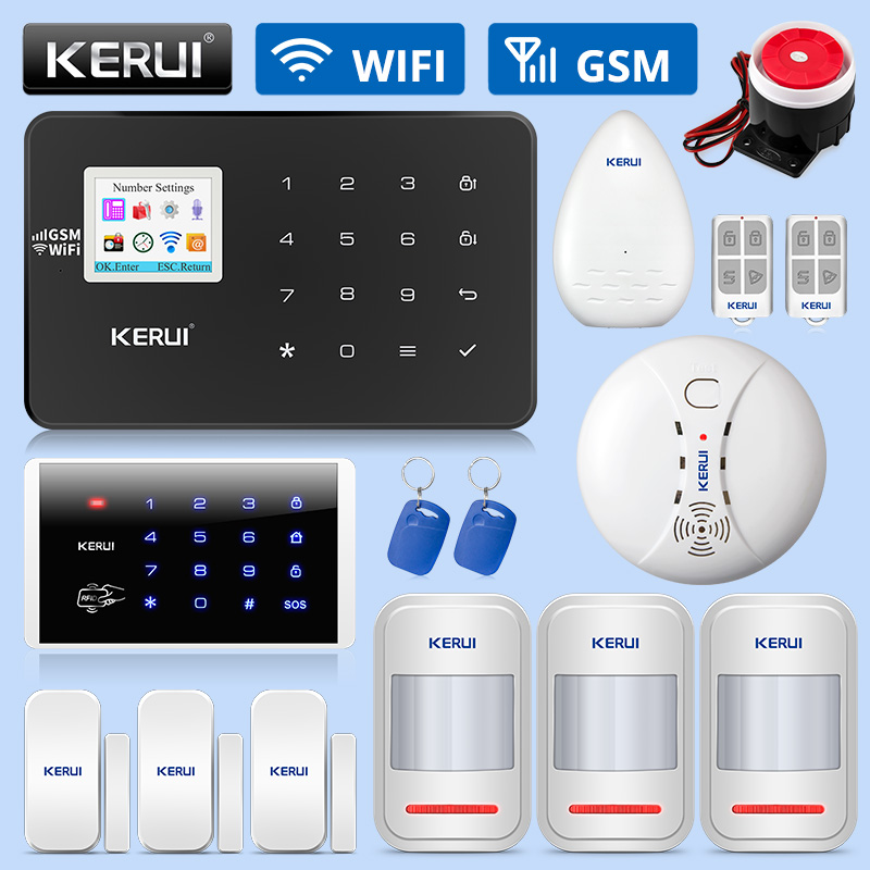 KERUI W18 GSM WIFI Burglar Home Security Alarm System APP Remote Control Motion Fire Smoke Detector Door Window Sensor DIY Kit