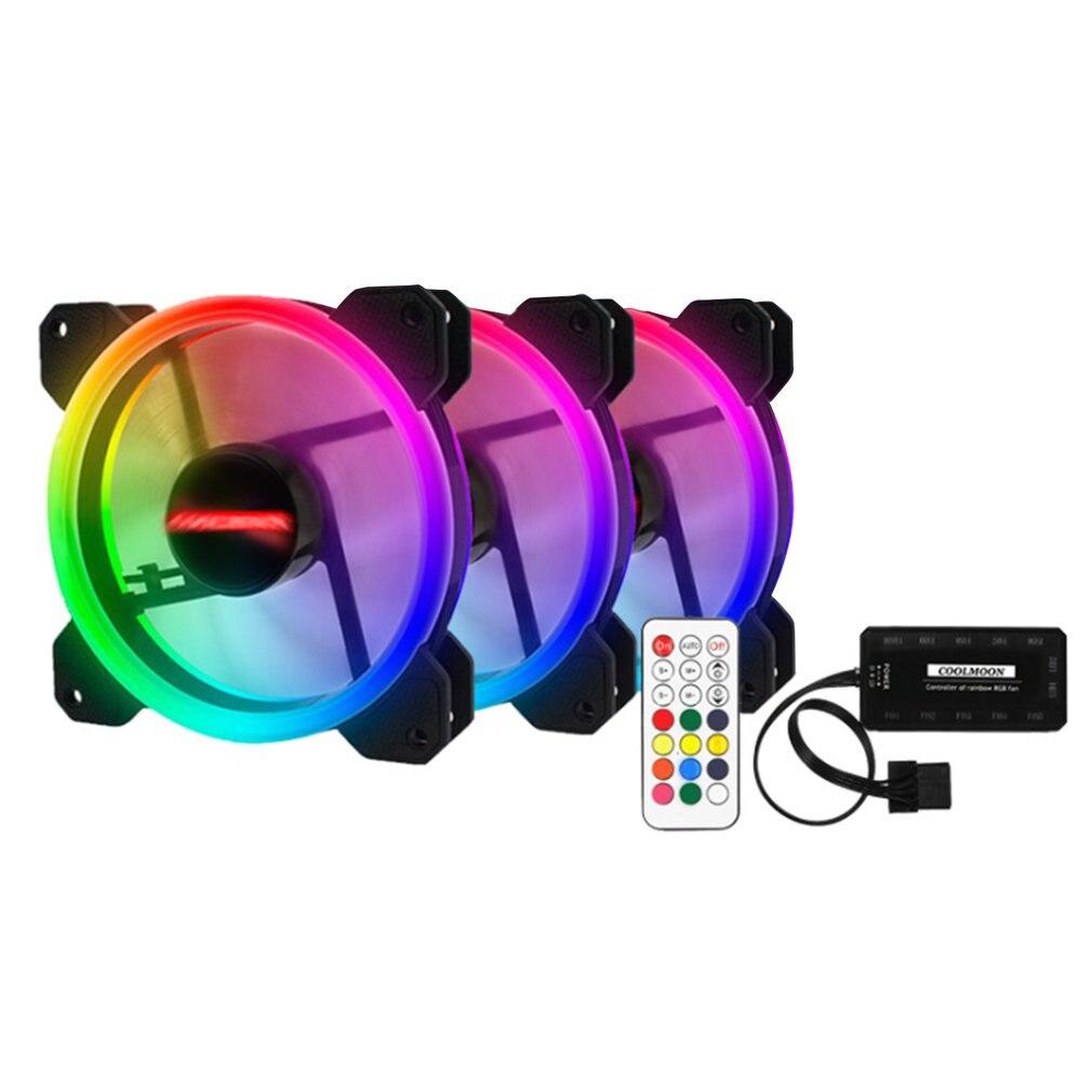 3-Pack LED ventilateur de refroidissement RGB 120mm 12V avec télécommande pour coque d'ordinateur PC CPU