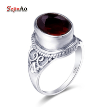 Szjinao Wholesale Round Rings for Women Garnet Vintage 925 Sterling Silver Ring Fashion Wedding Jewelry Free Shipping