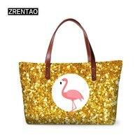 ZRENTAO 3D musical&flamingo women handbags ladies large capacity beach bags new fashion neoprene zipper tote bags