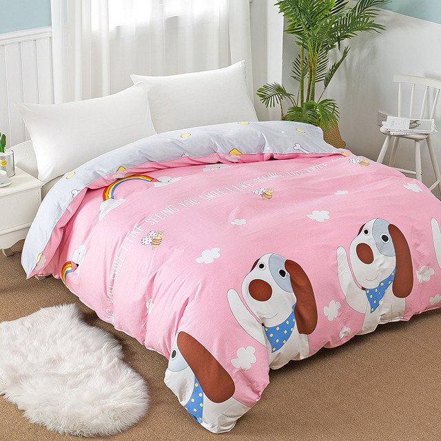 100 Cotton Modern Fashion Bedding Cute Cartoon Pink Puppy Printing