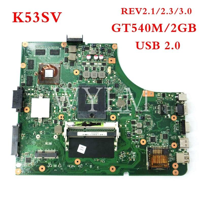 K53SV GT540M 2 gb USB2.0 Carte Mère Pour ASUS K53S X53S A53S P53S K53SV K53SJ P53S HM65 mère D'ordinateur Portable 100% Testé livraison gratuite