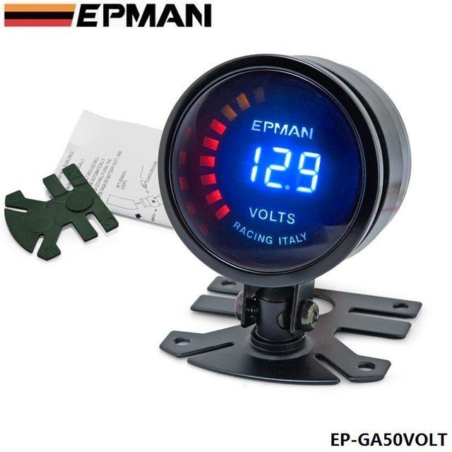 Pivote - 2015 nueva EPman racing 52 mm ahumado voltaje LED Digital Volt Meter medidor con el soporte EP-GA50VOLT