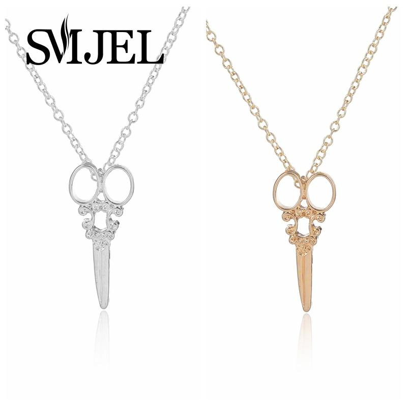 SMJEL New Women Necklace Jewelry Punk Scissors Shaped Necklace Fashion Vintage Special Tool Necklace Men Birthday Jewelry N082
