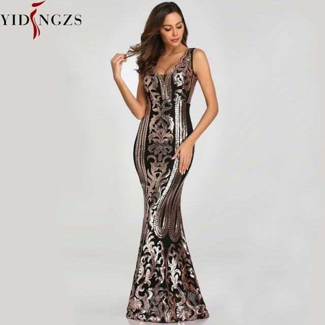YIDINGZS Neue Perlen Mit V ausschnitt Pailletten Party Formale Kleid Ärmel Sexy Lange Abendkleider Schwarz Goldene YD086