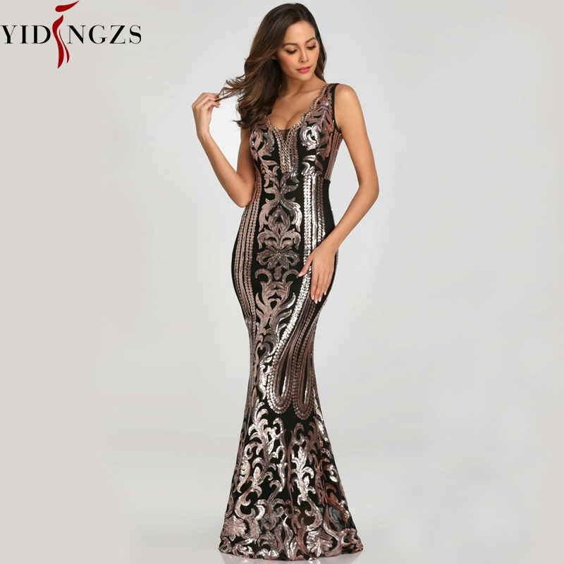 YIDINGZS New Beading V-neck Sequins Party Formal Dress Sleeveless Sexy Long Evening Dresses Black Golden YD086