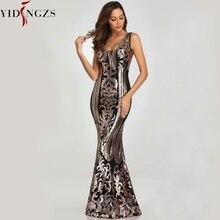 YIDINGZS חדש ואגלי V צוואר פאייטים המפלגה לבוש הרשמי שרוולים סקסי ארוך ערב שמלות שחור זהב YD086