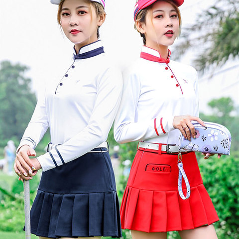 Pgm Golf Apparel Women Pleated Skirt+ Button Collar Shirts Suit Ladies Tennis Skirts Long Sleeve Shirts Golf Clothing D0493 Pakistan