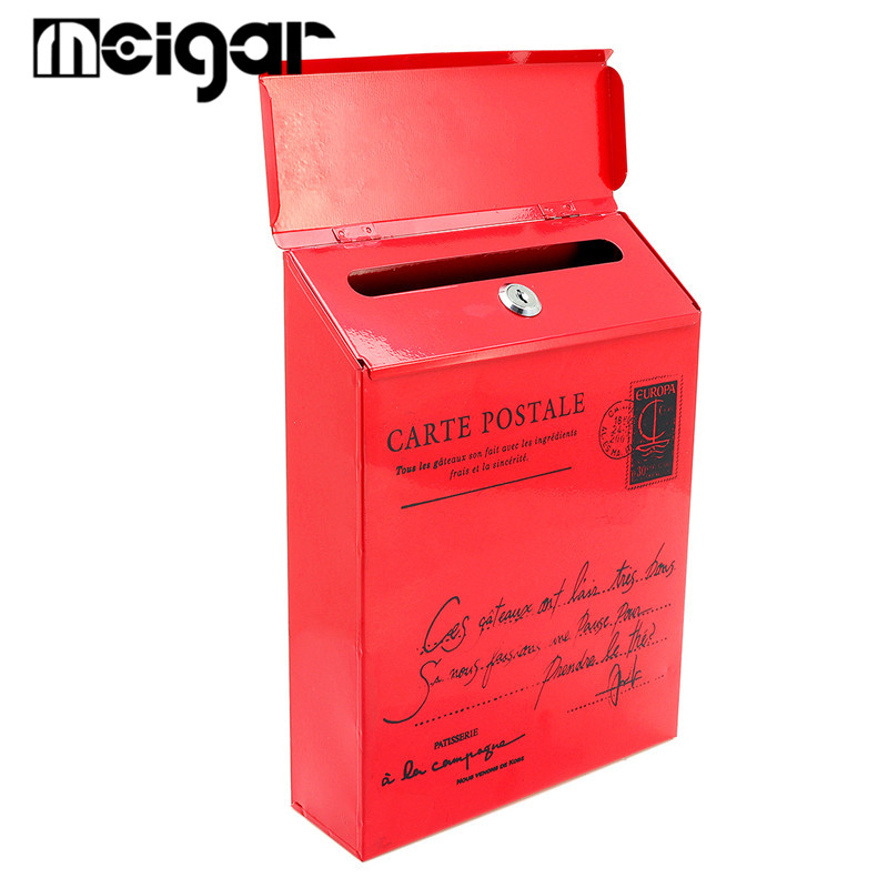 Mode Boîte Postale Vintage Tin Boîtes Aux Lettres Seau Rustique Forgé Fer Verrouillable Boîte Aux Lettres Journal Boîtes Maison BRICOLAGE Photographie Props