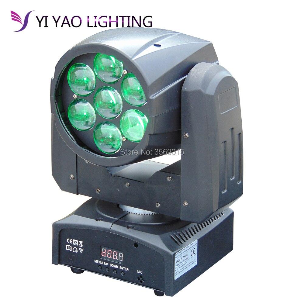Зум мытья 7x12 Вт RGBW 4in1 светодиодный перемещающаяся головка Мини DJ dmx свет этапа
