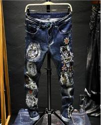 Мужские брюки в стиле панк, осенние джинсы с длинными дырками
