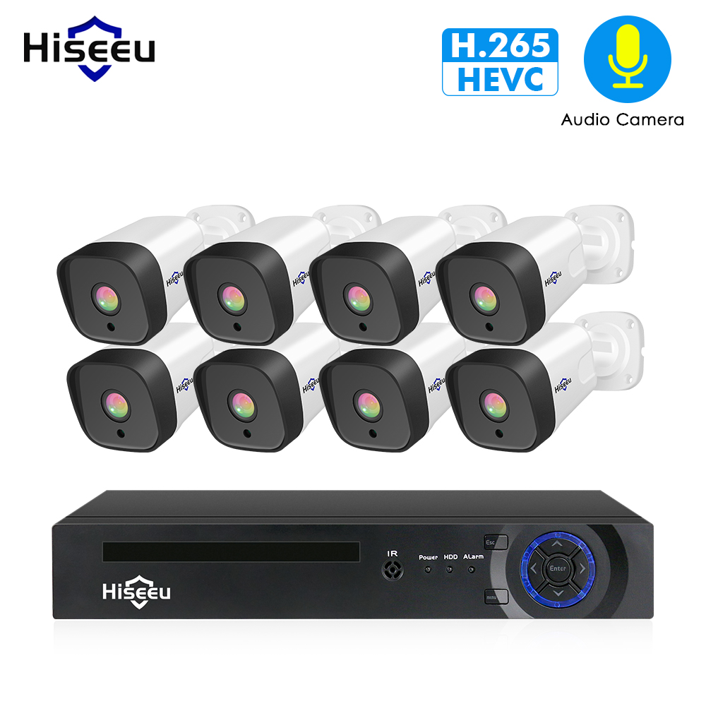 H.265 Audio 8CH 1080P POE NVR CCTV Security System 4PCS 2MP Record POE IP Camera IR Outdoor Video Surveillance Kit 1TB HDD