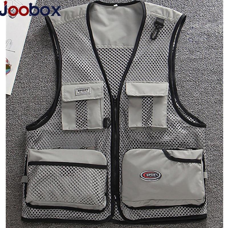 JOOBOX 2018 Many Pockets Vest Waistcoat Suitable Super Light Weight Vest Vest Men Mesh Multi-pockets Gilet Homme Puls Size L-4XL