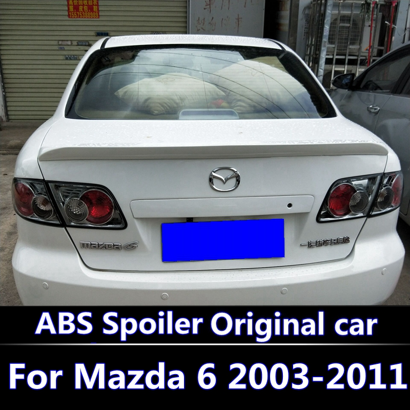 For <font><b>Mazda</b></font> <font><b>6</b></font> 2003-2011 <font><b>spoiler</b></font> High Quality ABS Material Car Rear Wing Primer Color Rear <font><b>Spoiler</b></font> For <font><b>Mazda</b></font> <font><b>6</b></font> <font><b>Spoiler</b></font> With lights image