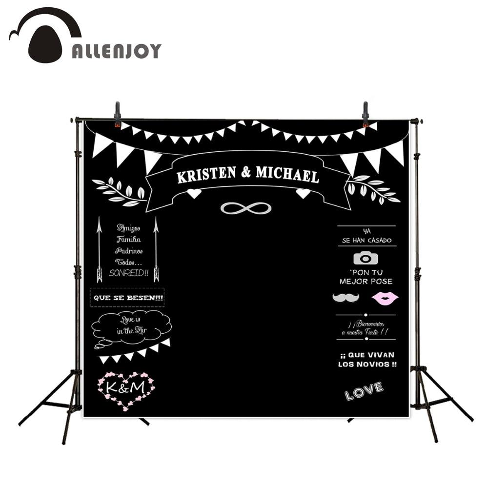 Allenjoy Photocall 웨딩 테마 배경 사진 스튜디오 분필 칠판 Background 사진 크기 맞춤 이름 날짜
