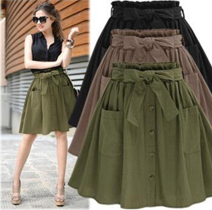 9df3fda2236 2019 New Arrival Summer Women s Skirts Vintage High Waist Pocket Solid Bow  Belt Midi Skirt Europe