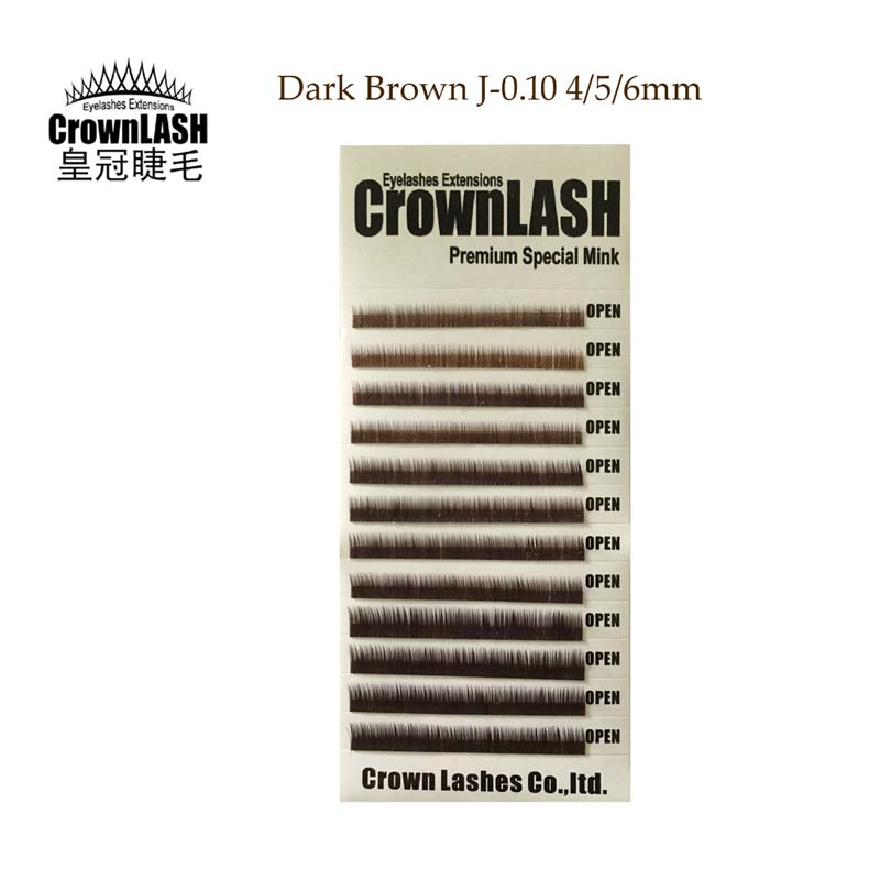 CrownLash Lower Lash Dark Brown J-0.10-4, 5, 6mm Eyebrows Extension Under Eyelash Natural Short Thin