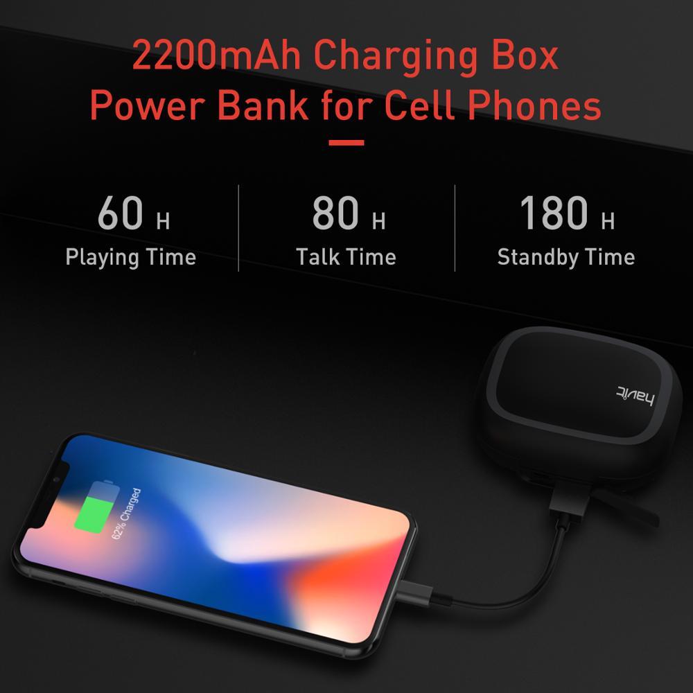 HAVIT TWS Mini écouteurs sans fil dans l'oreille Bluetooth écouteur V5.0 Sport IPX5 étanche avec 2200 mAh boîte Rechargeable casque I93 - 2