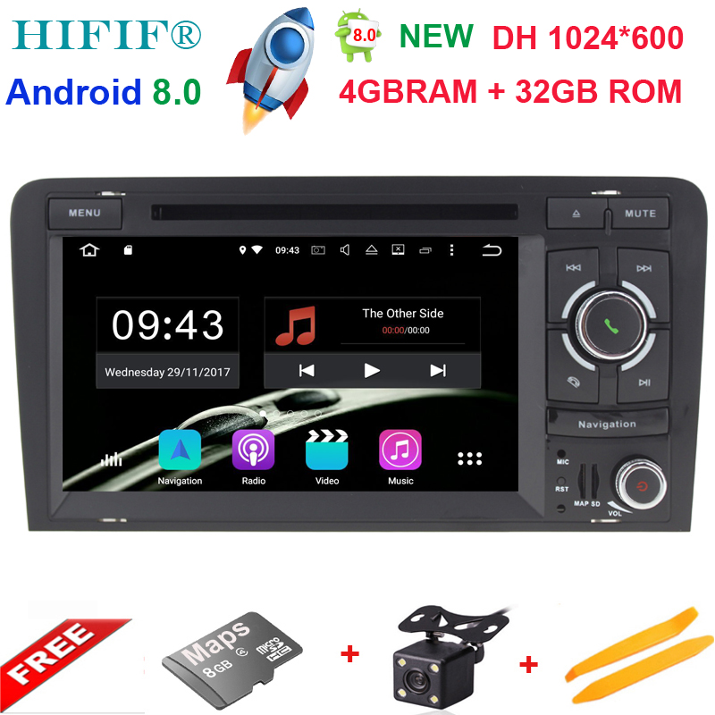 Android 8.0 4+32G 7 2 DIN Car DVD Player GPS Navigation Radio Canbus USB SD for Audi A3 8P/A3 8P1 3-door Hatchback/S3 8P/RS3 ...