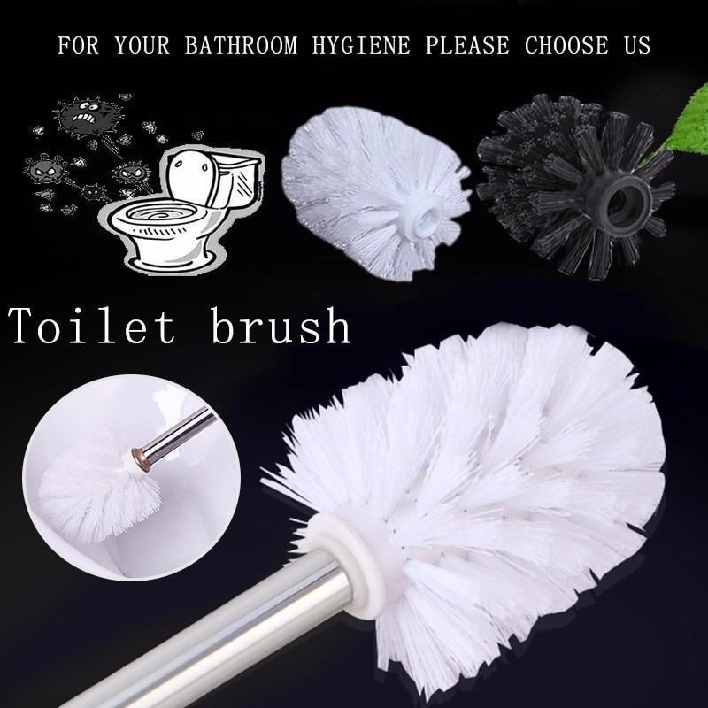 Universal Replacement Toilet Brush Head Holder White Black Clean Spare Parts Tools Toilet Brush Home Bathroom Accessories