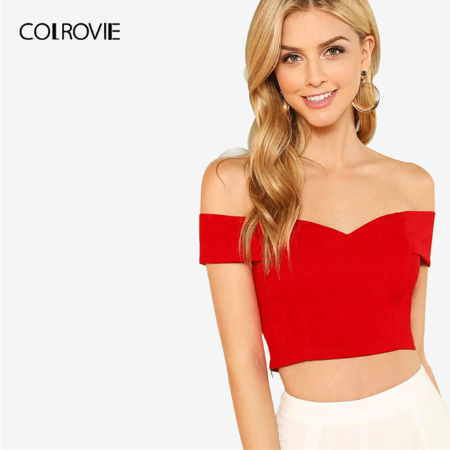 COLROVIE Red Elegant Workwear Sweetheart Slim Crop Top Fold Over Bardot Sleeveless Cami Women Summer Camisole Tank Clothing